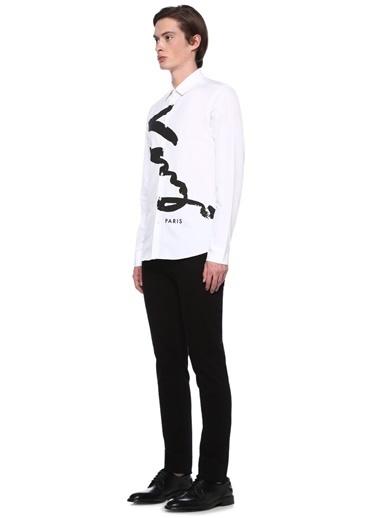 Kenzo Baskılı Uzun Kollu Gömlek Beyaz
